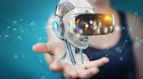 Businesswoman using virtual reality and artificial intelligence. Businesswoman on blurred background using virtual reality and artificial intelligence 3D Royalty Free Stock Photo