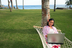 Businesswoman on vacation stock images