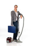 Businesswoman vacuum cleaner Stock Photo