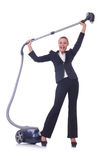 Businesswoman with vacuum cleaner Stock Photos