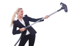 Businesswoman with vacuum cleaner Stock Images