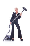 Businesswoman with vacuum cleaner Stock Photography