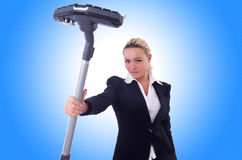 Businesswoman with vacuum cleaner Stock Image