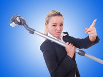 The businesswoman with vacuum cleaner on white Stock Photos