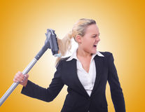 The businesswoman with vacuum cleaner on white Royalty Free Stock Photos