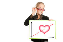 Businesswoman with Valentine's Day diagram Stock Photos