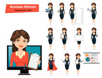 Businesswoman with various things. Set of cute cartoon character. Vector illustration isolated on white background Stock Photography