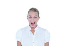 Businesswoman very surprized Royalty Free Stock Photos
