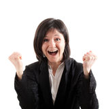 Businesswoman victory pose Stock Photo