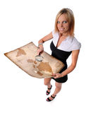 Businesswoman With Vintage Map stock images