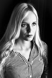 Businesswoman with vision. Young businesswoman with a vision, a black and white portrait Royalty Free Stock Photos