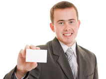 Businesswoman with visit card in his hand. Royalty Free Stock Image