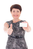 Businesswoman with visiting card thumbs up Stock Image
