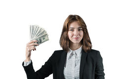 Businesswoman with wad of money in her hands Royalty Free Stock Photography