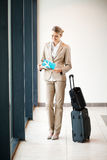 Businesswoman waiting flight Royalty Free Stock Images
