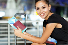 Businesswoman waiting flight Stock Image