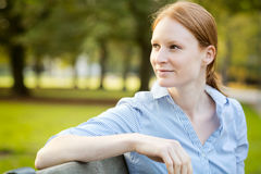 Businesswoman Waiting for a Meeting in a Park Royalty Free Stock Photos