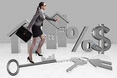 The businesswoman walking climbing stairs in mortgage. Businesswoman walking climbing stairs in mortgage Stock Photos