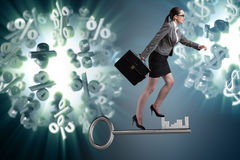 The businesswoman walking climbing stairs in mortgage. Businesswoman walking climbing stairs in mortgage Royalty Free Stock Photo