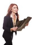 Businesswoman walking with files in her hands Stock Images