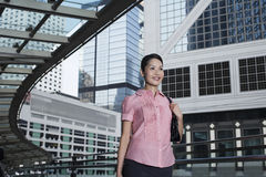 Businesswoman Walking On Footbridge Royalty Free Stock Photography