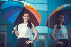 Businesswoman is walking outside in city Royalty Free Stock Photography