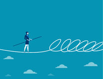 Businesswoman walking a tightrope and barrier. Concept business illustration. Vector flat Royalty Free Stock Photo