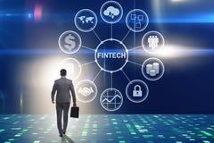The businesswoman walking towards financial technology fintech. Businesswoman walking towards financial technology fintech Stock Photography