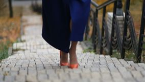 Businesswoman walking up the stairs on stairway. Elegant businesswoman in orange high heels and stylish clothing walking upstairs on stairway in autumnal park stock video