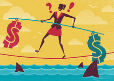 Businesswoman walks the Financial Tightrope. Great illustration of Retro styled Businesswoman walks the Dangerous Business Landscape whilst balancing Financial Stock Image