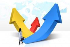 Businesswoman walks toward rising arrows Stock Photos