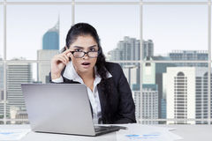 Businesswoman was surprised at camera Royalty Free Stock Photo