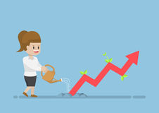 Businesswoman Watering Business Graph that Growth Through the Gr. Ound, Financial  Business Investment Concept Stock Photo