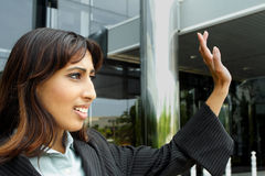 Businesswoman Waving Stock Photo