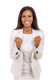 Businesswoman waving fists Royalty Free Stock Image