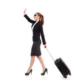 Businesswoman waving hand. Royalty Free Stock Photo