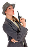 Businesswoman with weapon, gun Royalty Free Stock Photography