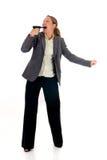 Businesswoman with weapon, gun Stock Photo