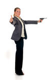 Businesswoman with weapon, gun Royalty Free Stock Image