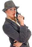 Businesswoman with weapon, gun Royalty Free Stock Photo