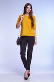 Businesswoman wear yellow silk jacket cotton trousers suit Royalty Free Stock Images