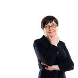 A businesswoman wearing a black business suit is thinking up new ideas Royalty Free Stock Photos