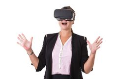 Businesswoman wearing black virtual reality glasses isolated on. White background Stock Image