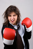 Businesswoman wearing boxing gloves Stock Images