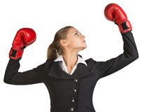 Businesswoman wearing boxing gloves, with her arms Stock Photos