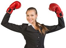 Businesswoman wearing boxing gloves wins Stock Image