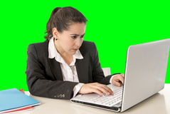 Businesswoman wearing business suit working on laptop computer green chroma key Stock Photography