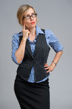 Businesswoman wearing glasses looking up Royalty Free Stock Images