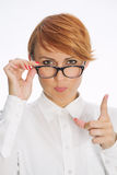 Businesswoman Wearing Glasses and Pointing Finger. Businesswoman or Teacher With Glasses and Pointing Finger Stock Photography