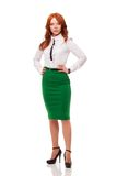 Businesswoman wearing green skirt Royalty Free Stock Photography
